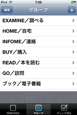 TIMETODO グループ画面