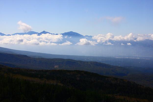 ロープウェイの窓から 八ヶ岳(南アルプス)