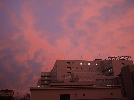 二日連続紅鮭色夕焼け