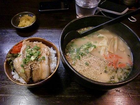 麺屋やしち 醤油ラーメン+チャーシュー丼