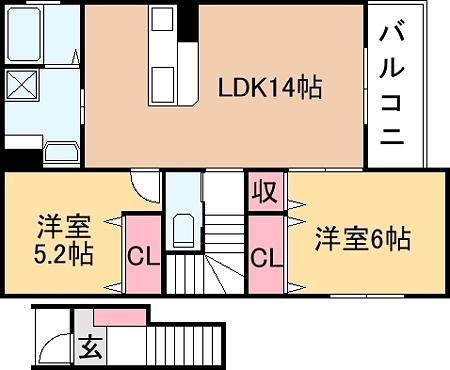 図面(2LDK)_カラー