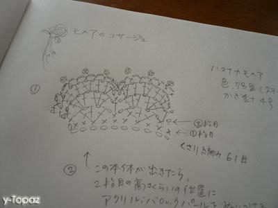 落ち着いたピンクのモヘアでコサージュ 編み図メモ