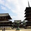 写真: 法隆寺 正面を望む