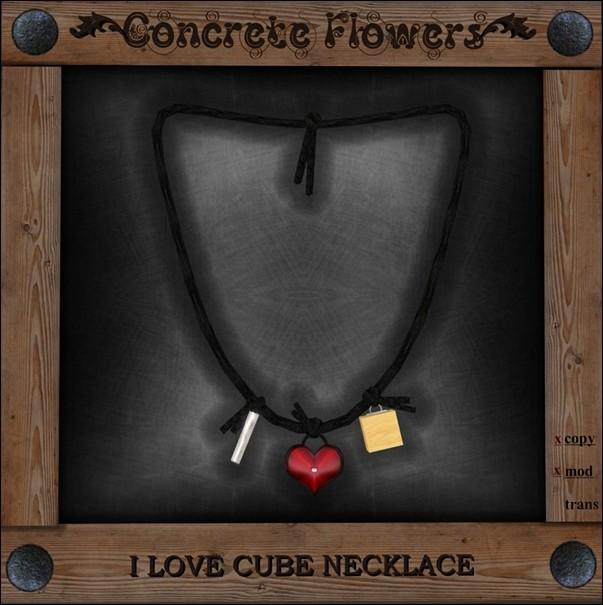 CONCRETE FLOWERS-I <3 CUBE NECKLACE