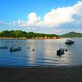 西日差す沖合の小島