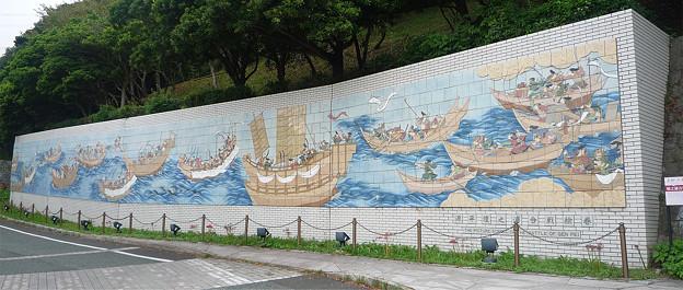 和布刈公園の「源平壇ノ浦合戦絵巻」の壁画