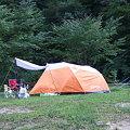 写真: テント…横からの眺め