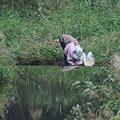 写真: おばあさんは川に洗濯に~